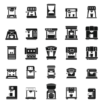 American coffee machine icons set, simple style