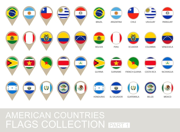Коллекция флагов стран америки, часть 1, версия 2