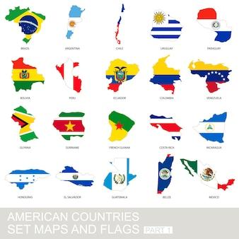 アメリカの国々の設定、地図と旗、パート1