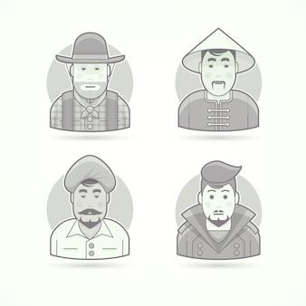 アメリカのカウボーイ、アジアの村人、インド人、スタイリッシュな男。キャラクター、アバター、人のイラストのセットです。黒と白のアウトラインスタイル。