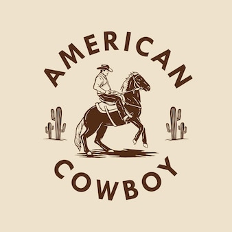 American cowboy hand drawn design