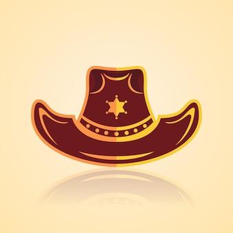 황금 디자인과 보안관 스타가 있는 미국 카우보이 로데오 모자 서양식 벡터