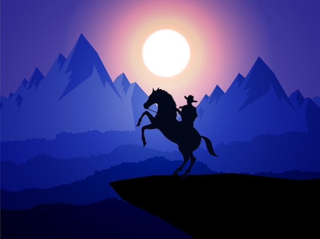American cowboy with horse wild west moon night landscape background