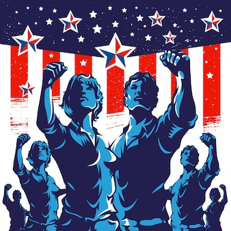 American crowd protest fist revolution poster