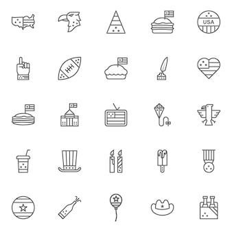 American culture icons, culture signs of the usa, traditions of america, us life, national objects of usa, line icons