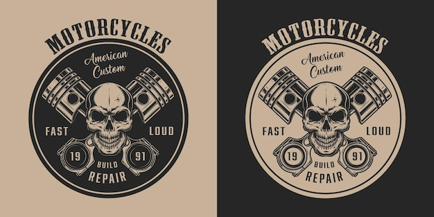 Винтажная этикетка американского мотоциклетного сервиса с черепом и скрещенными поршнями двигателя в монохромном стиле