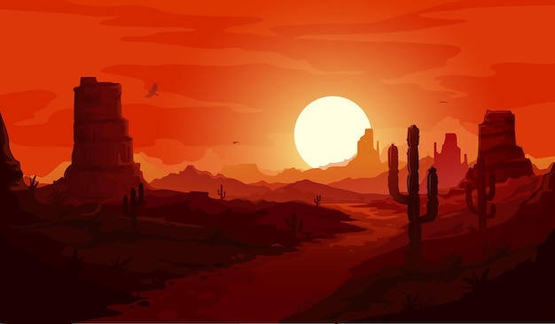 American desert landscape. texas western mountains and cactuses, condor eagles and sunset background. vector wild west dry desert landscape with path go through rocks under red sky at dusk