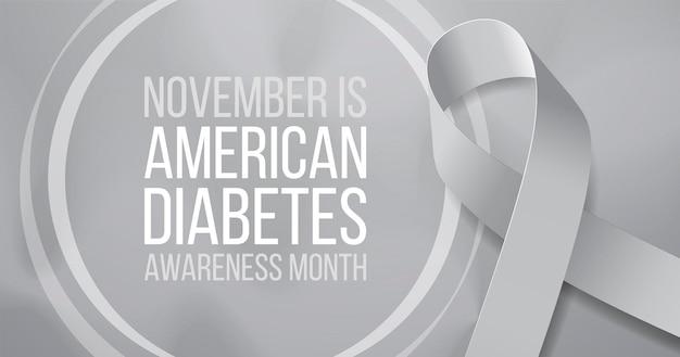 Американское понятие месяца осведомленности диабета. шаблон баннера с серой лентой и текстом. векторная иллюстрация.