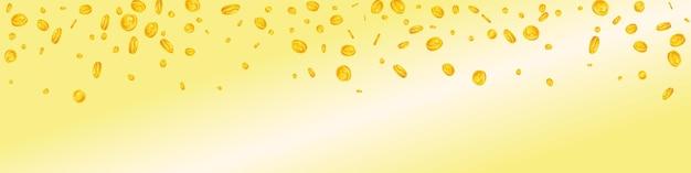 米ドル硬貨が下落。散らばった米ドルのコインをかっこよく。アメリカのお金。まともな大当たり、富または成功の概念。ベクトルイラスト。