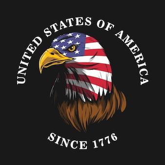 American eagle designvintage stye with black outline