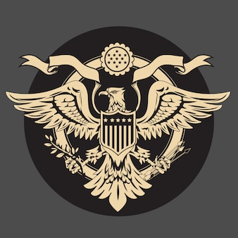 American eagle emblem with usa flags and shield vintage
