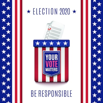 American election 2020 background with ballot box.