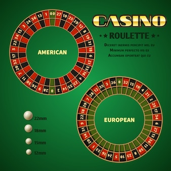 American and european casino roulette motion wheels with white ball.