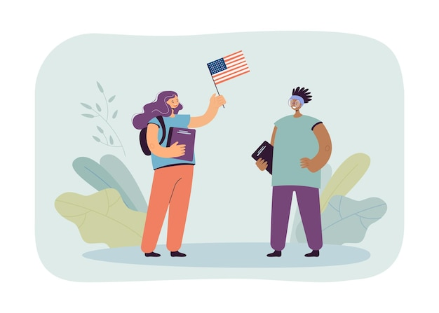 American exchange student meeting caucasian girl with usa flag