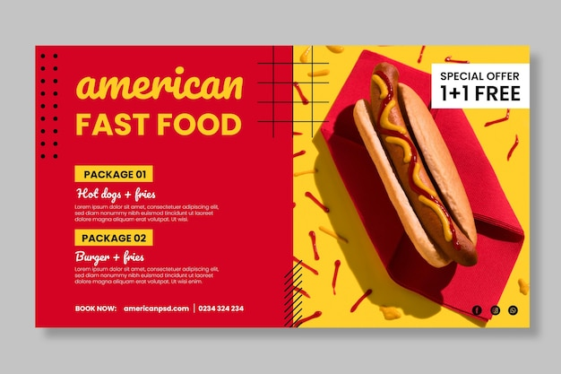American fast food banner template
