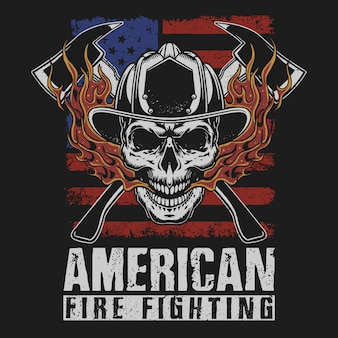 American firefighting grunge illustration vector