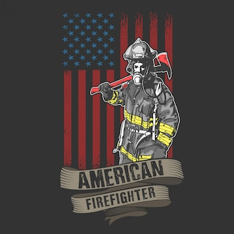 American fireman and fire fighter