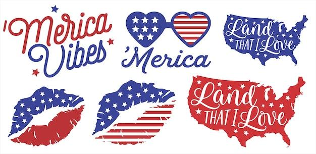 7月のお祝いのアメリカ国旗4日、アメリカの雰囲気フラットイラストベクトル