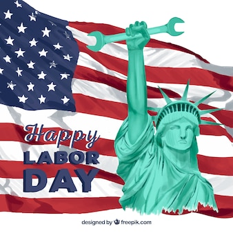 レンチでアメリカの旗と自由の像