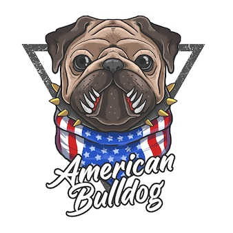 American flag bandana cute bulldog illustration