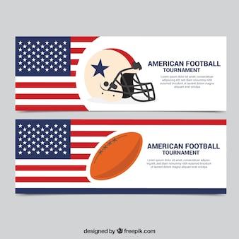 米国旗のバナーやサッカーの要素