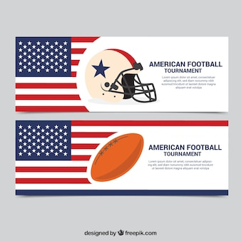 American flag banners and soccer elements