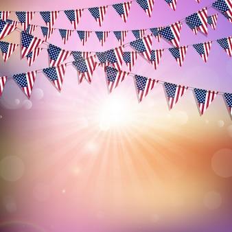 Bunting bandiera americana su uno sfondo astratto