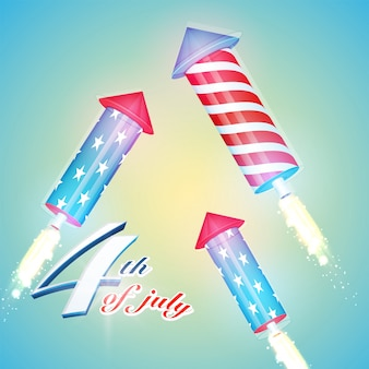 미국 국기 색 독립 기념일 축 하 7 월 4 일에 대 한 빛나는 배경에 로켓 폭발.