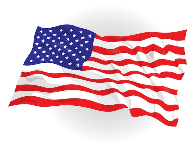 American flag floating in the air