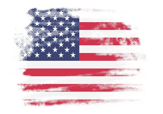 American flag in grunge style