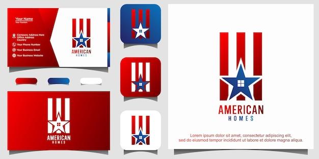 미국 국기 집 주택 모기지 로고