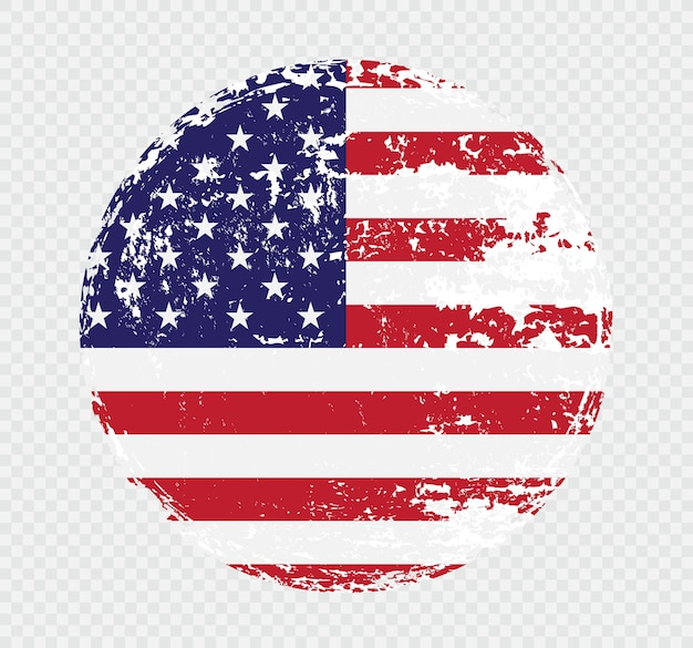 American flag icon in grunge style