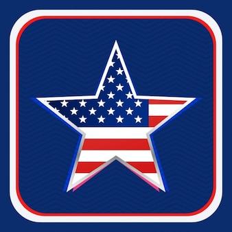 American flag inside a star background