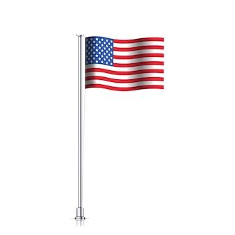 흰색 배경에 고립 된 미국 국기입니다. 금속 기둥에 미국 국기를 흔들며. 벡터.