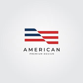 アメリカの国旗のロゴミニマリストシンボルイラスト