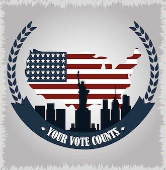 American flag in map country and ny city, politics voting and elections usa, make it count illustration