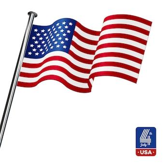 Американский флаг на белом фоне. с четвертым июля.