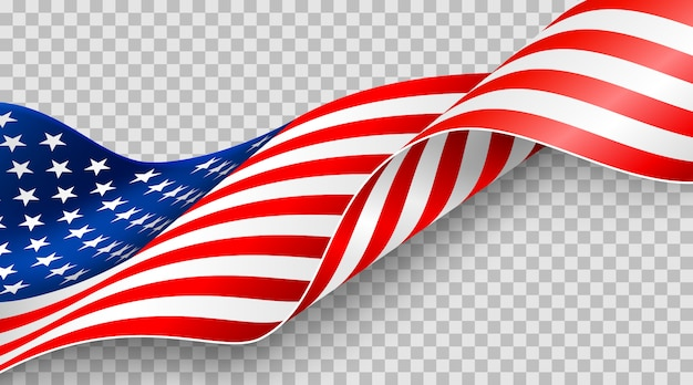 American flag on transparent background for 4t of july