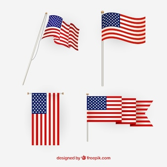 American flag vector. different views.