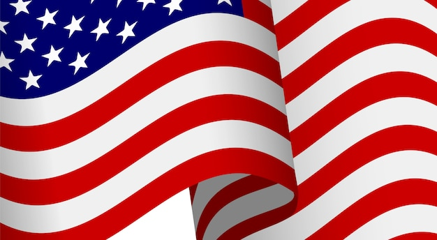 American flag waving with clipping mask for design