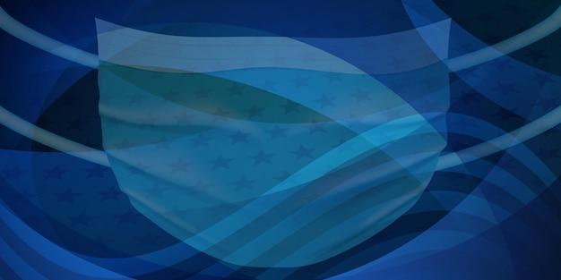 濃い青色のコロナウイルスを保護するための医療用使い捨てマスク付きのアメリカ国旗
