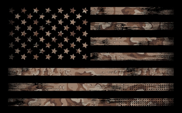 American flag with desert camo background