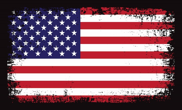 American flag with grunge effect