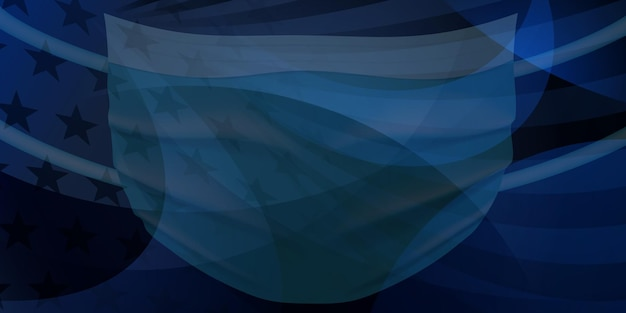 American flag with a medical disposable mask for protection of coronavirus in dark blue colors