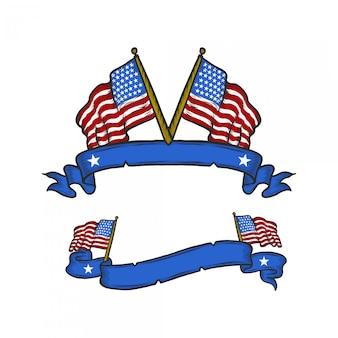 Американский флаг со старинным баннером, рисование рук