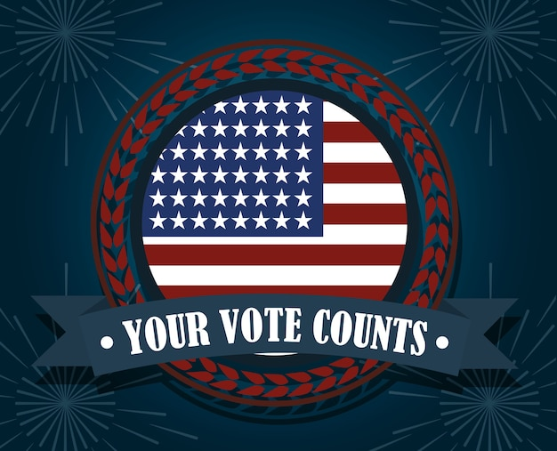 American flag your vote counts, politics voting and elections usa, make it count illustration