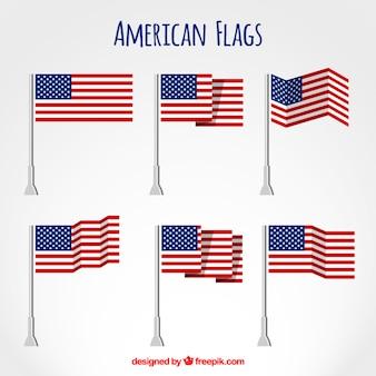 American flags flat set
