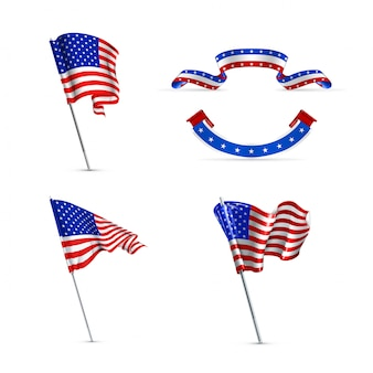 American flags,  icons set