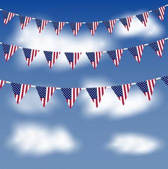 Bandiere americane in cielo