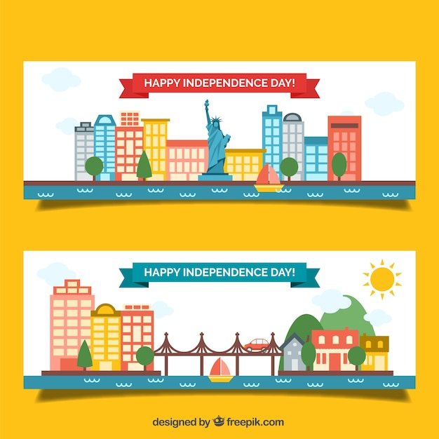 American flat banners of independence day